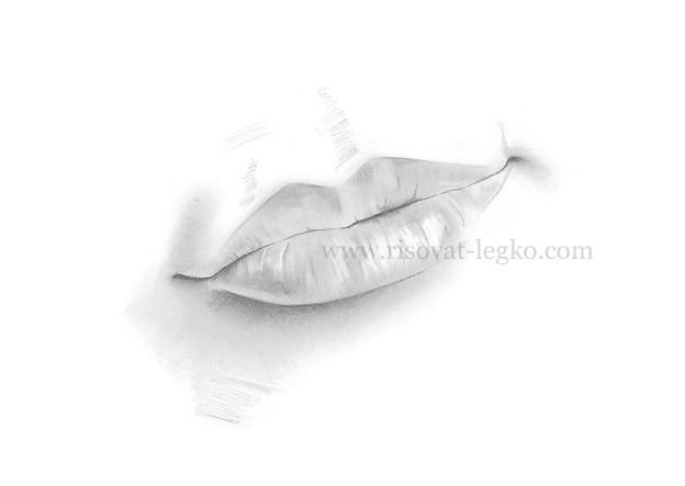 05.Как рисовать губы простым карандашом: поэтапный урок