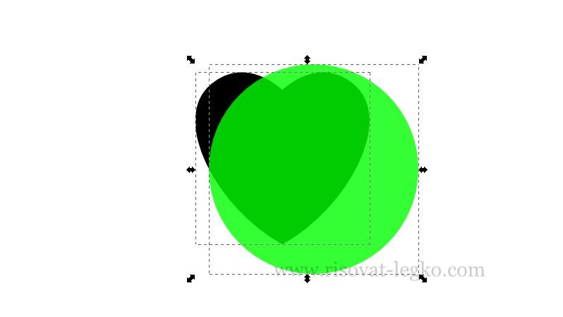 10.Как рисовать сердце поэтапно в редакторе Inkscape