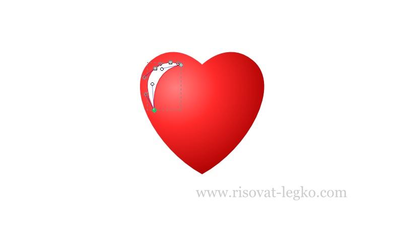12.Как рисовать сердце поэтапно в редакторе Inkscape