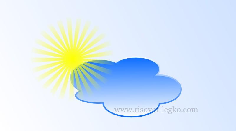 01.Как рисовать облака и солнце поэтапно в Inkscape