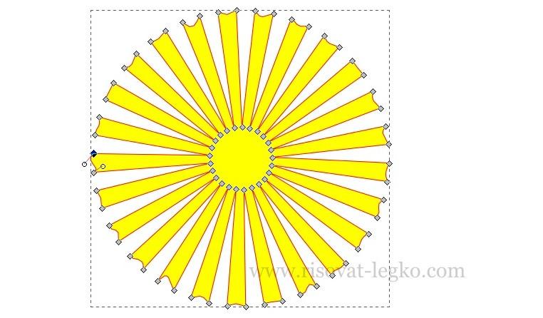 010.Как рисовать облака и солнце поэтапно в Inkscape