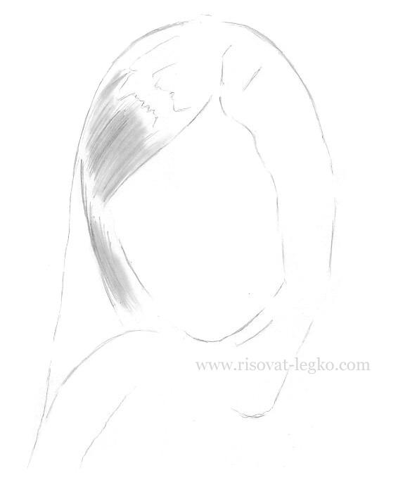 02.Как рисовать волосы карандашом поэтапно: брюнетка