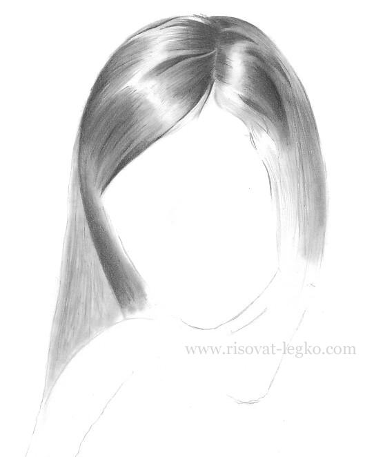 04.Как рисовать волосы карандашом поэтапно: брюнетка