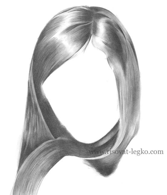 05.Как рисовать волосы карандашом поэтапно: брюнетка