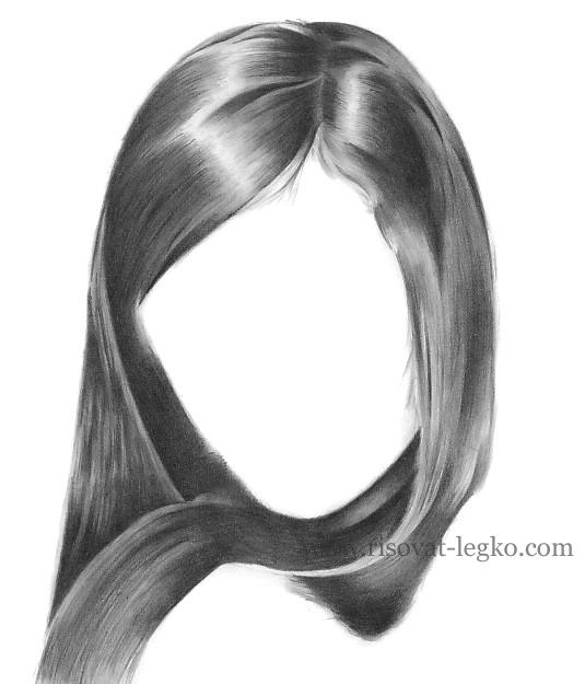 06.Как рисовать волосы карандашом поэтапно: брюнетка
