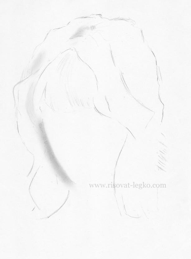02.Как рисовать волосы поэтапно: волосы блондинки