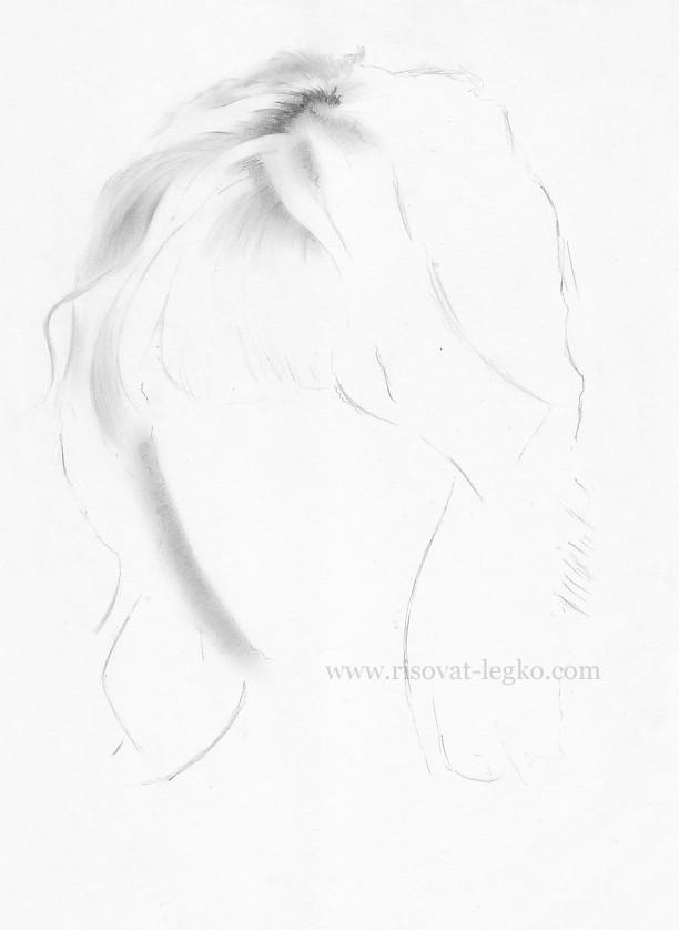 03.Как рисовать волосы поэтапно: волосы блондинки