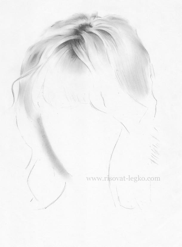 04.Как рисовать волосы поэтапно: волосы блондинки