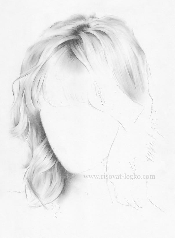 05.Как рисовать волосы поэтапно: волосы блондинки