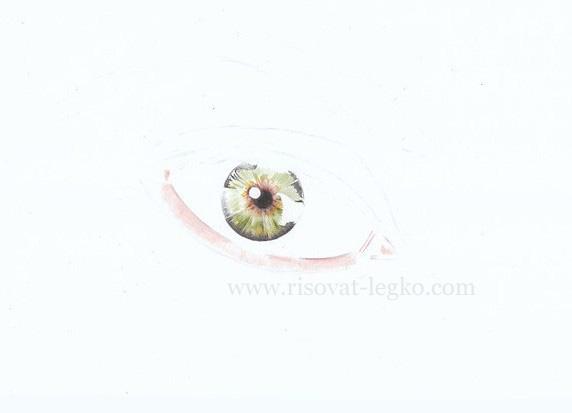 04.Как нарисовать глаза поэтапно цветными карандашами