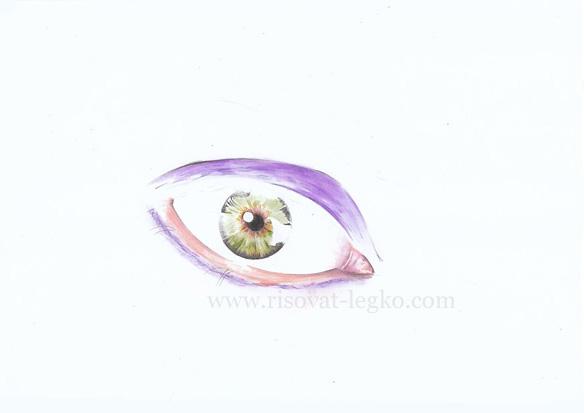 05.Как нарисовать глаза поэтапно цветными карандашами