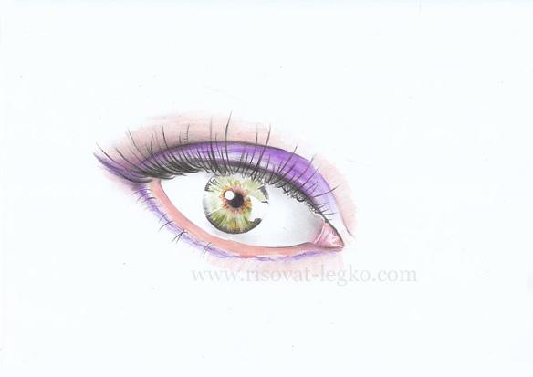 06.Как нарисовать глаза поэтапно цветными карандашами