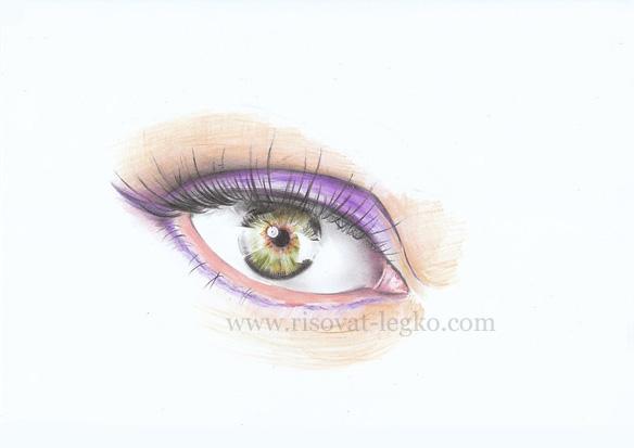 07.Как нарисовать глаза поэтапно цветными карандашами
