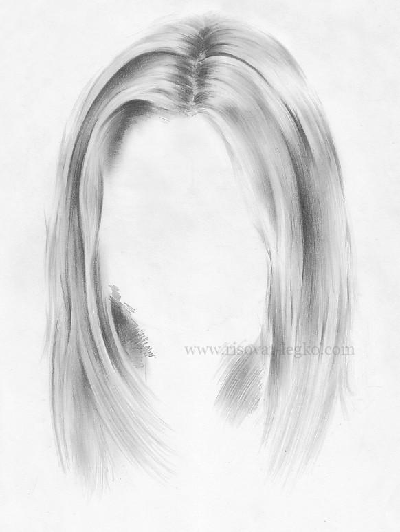01.Волосы карандашом поэтапно: прямые волосы