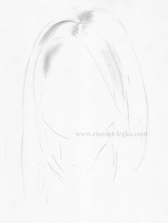 02.Волосы карандашом поэтапно: прямые волосы