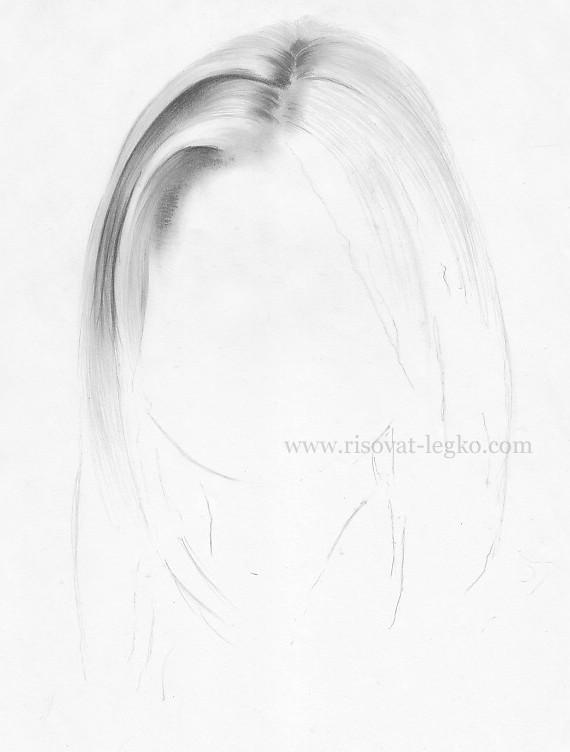 04.Волосы карандашом поэтапно: прямые волосы