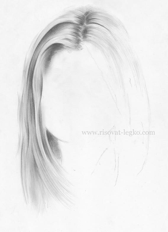 05.Волосы карандашом поэтапно: прямые волосы