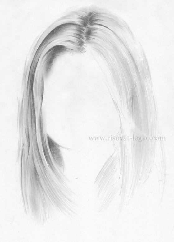 06.Волосы карандашом поэтапно: прямые волосы