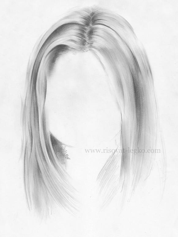 07.Волосы карандашом поэтапно: прямые волосы