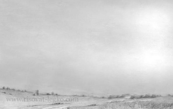 03.Как нарисовать небо и облака карандашом поэтапно