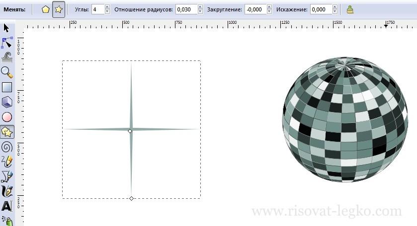 08.Диско-шар поэтапно в программе Inkscape