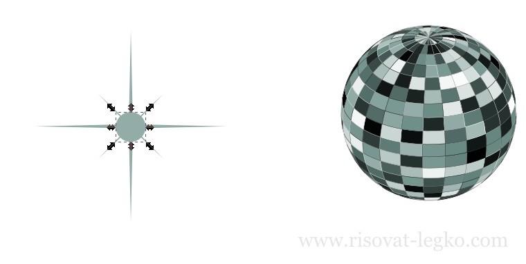 09.Диско-шар поэтапно в программе Inkscape