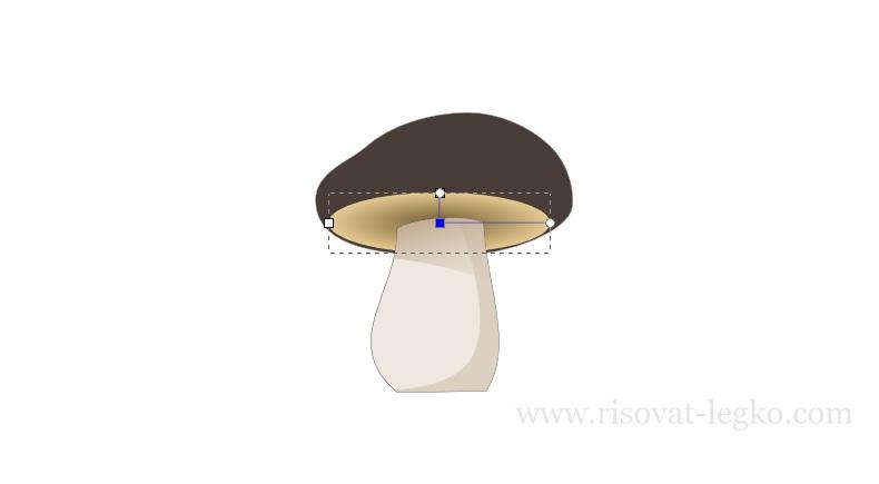 10.Как нарисовать гриб поэтапно в программе Inkscape