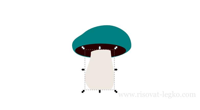05.Как нарисовать гриб поэтапно в программе Inkscape