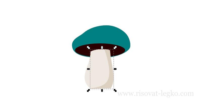 07.Как нарисовать гриб поэтапно в программе Inkscape