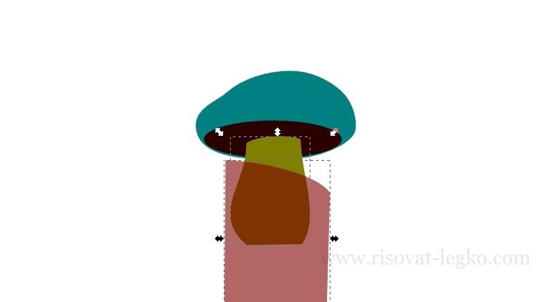 08.Как нарисовать гриб поэтапно в программе Inkscape