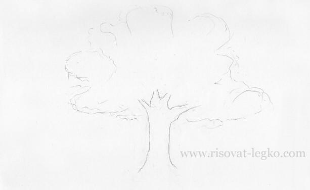 02.Как рисовать дерево поэтапно цветными карандашами