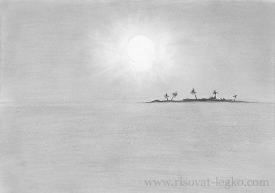 02.Как нарисовать море поэтапно простым карандашом