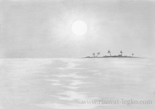 03.Как нарисовать море поэтапно простым карандашом