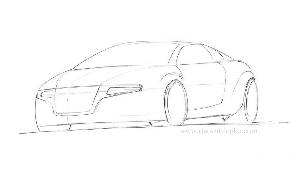 05.Как нарисовать машину поэтапно карандашом
