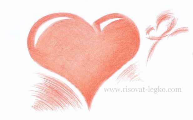 Як намалювати серце олівцем поетапно - уроки малювання