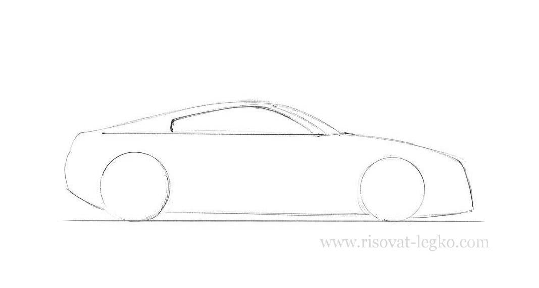 04.Как рисовать машину поэтапно карандашом