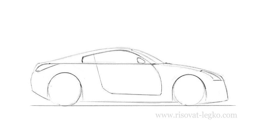 05.Как рисовать машину поэтапно карандашом