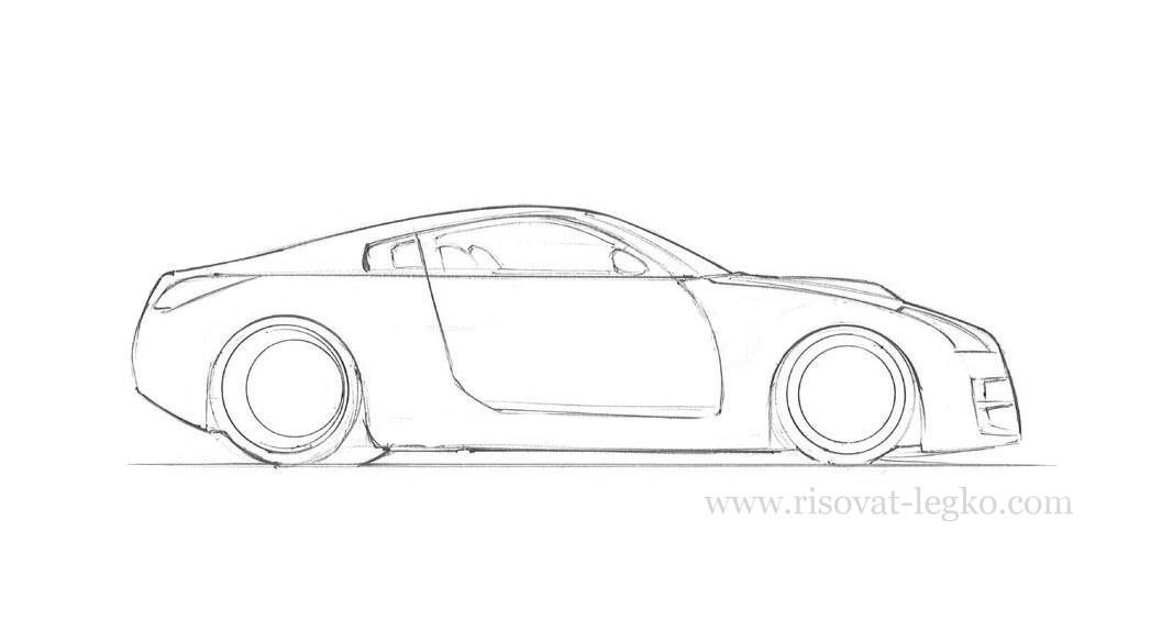 07.Как рисовать машину поэтапно карандашом