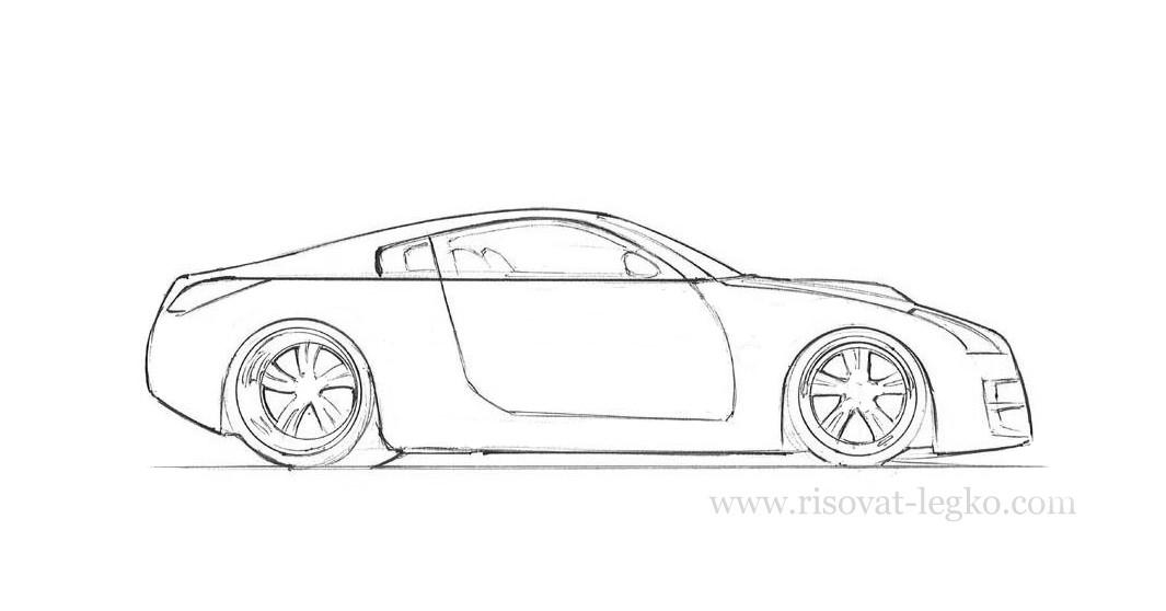 08.Как рисовать машину поэтапно карандашом