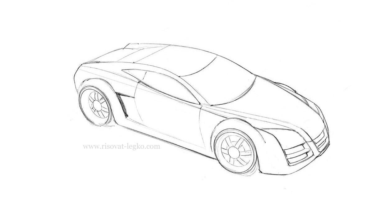 06.Как нарисовать машину поэтапно карандашом