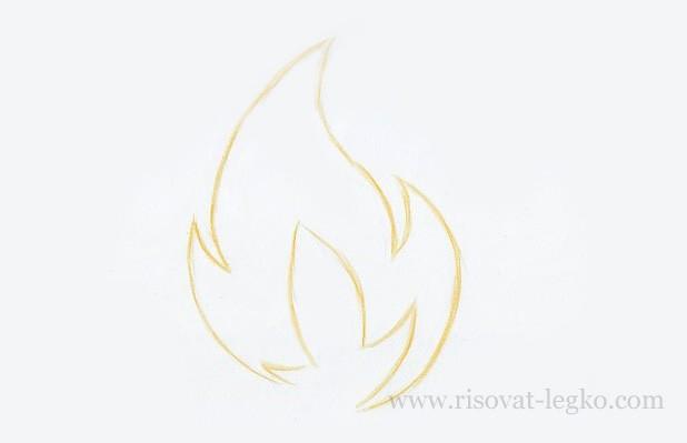 04.Как нарисовать огонь поэтапно карандашом