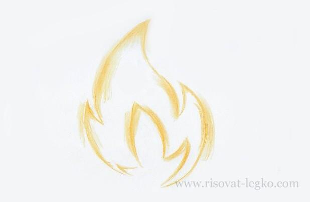 05.Как нарисовать огонь поэтапно карандашом