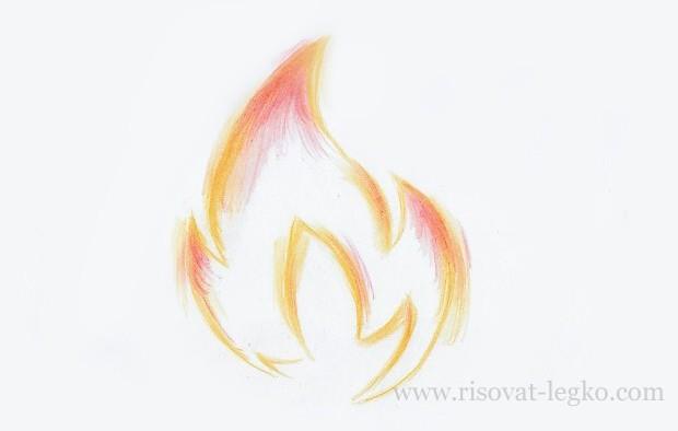 06.Как нарисовать огонь поэтапно карандашом