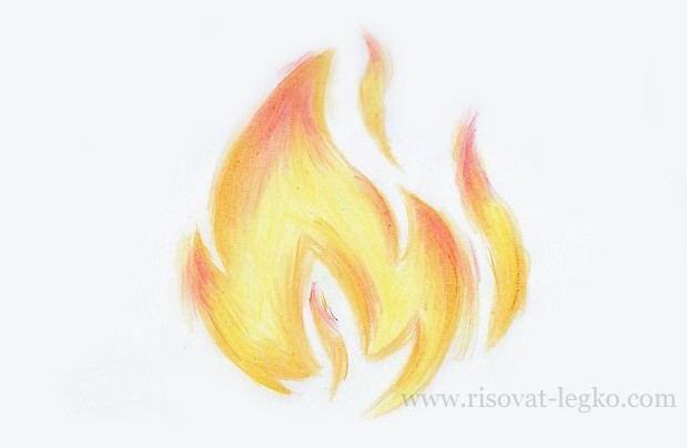 Как рисовать огонь карандашами поэтапно