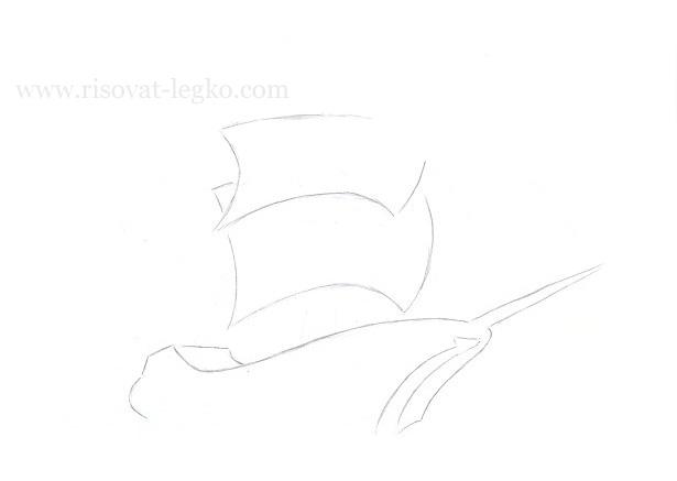 06.Как нарисовать корабль поэтапно карандашом