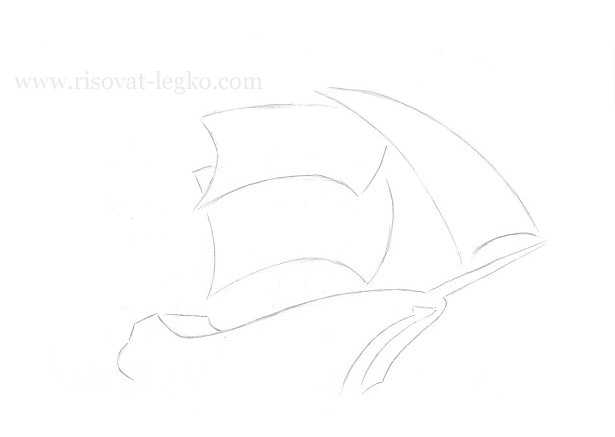 07.Как нарисовать корабль поэтапно карандашом