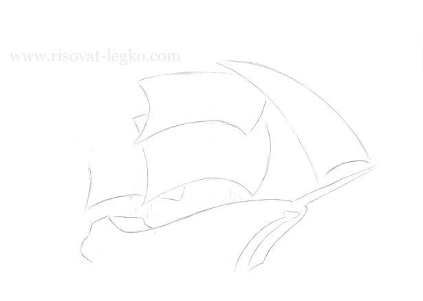 08.Как нарисовать корабль поэтапно карандашом