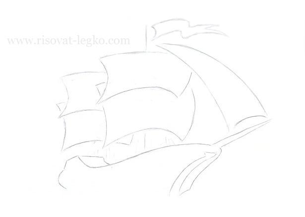 09.Как нарисовать корабль поэтапно карандашом