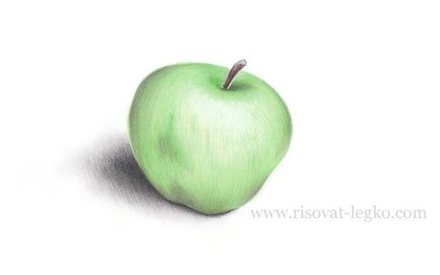 01.Как нарисовать яблоко поэтапно карандашом