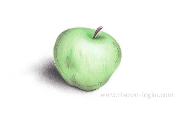 09.Как нарисовать яблоко поэтапно карандашом